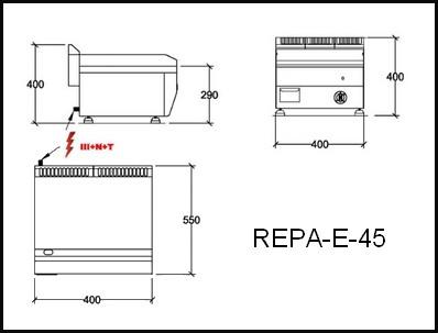 Dessin technique avec cotes en mm du REPA-E-45