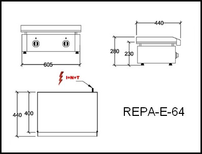 Dessin technique avec cotes en mm du REPA-E-64