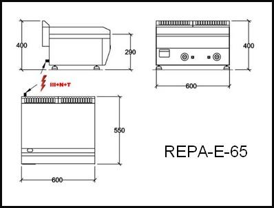 Dessin technique avec cotes en mm du REPA-E-65