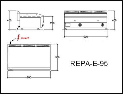 Dessin technique avec cotes en mm du REPA-E-95