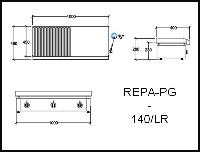 Dessin technique avec cotes en mm du REPA-PG-140