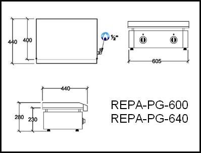 Dessin technique avec cotes en mm du REPA-PG-600