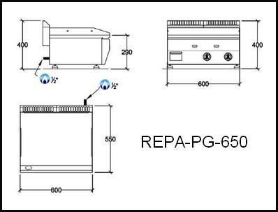 Dessin technique avec cotes en mm du REPA-PG-650