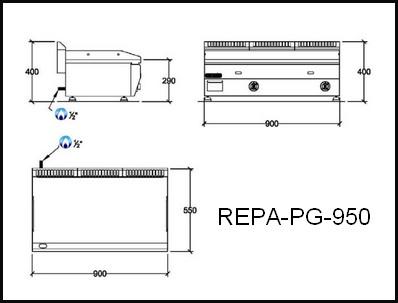 Dessin technique avec cotes en mm du REPA-PG-950